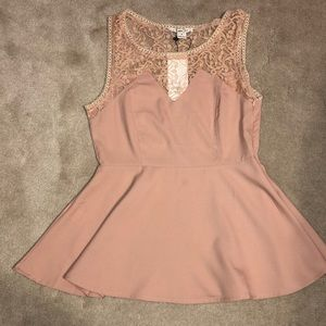 Peach colored lace shirt